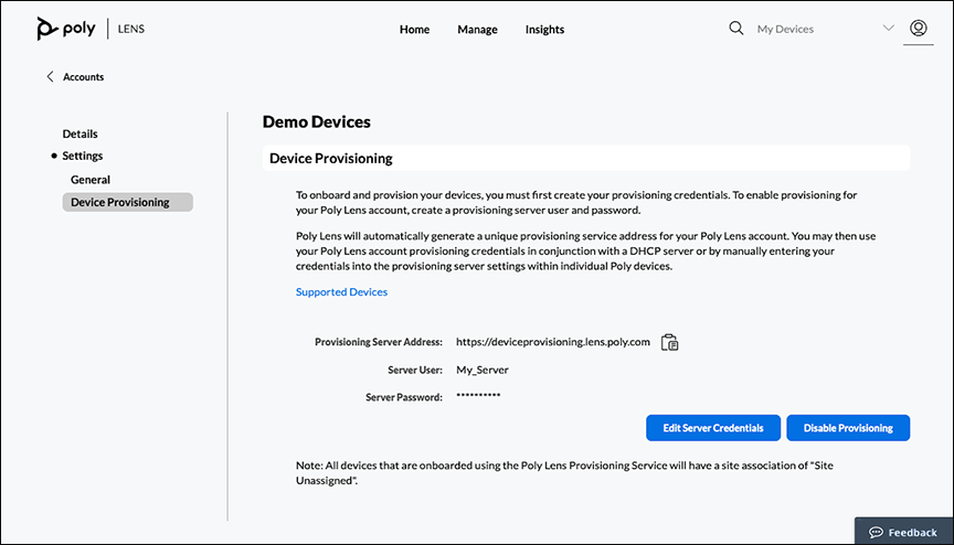Poly Lens Accounts Settings Device Provisioning page